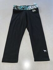 NWT Victoria's Secret PINK Flat Crop Legging Yoga Pants Black Tropical Size XS
