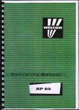 "Welger ""AP 63"" Baler Operator Instruction Manual Book"