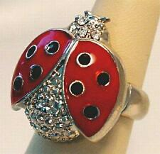 Lady Bug Stretch Cocktail Ring Red Clear Crystals in Silver or Gold