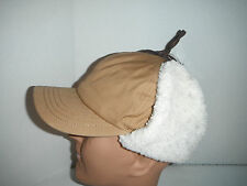 WOOLRICH cotton WINTER bomber FUDD CAP hat LARGE tan NEW !