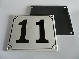 Old German White Enamel Porcelain Metal House Door Number Street Sign / Plate 11