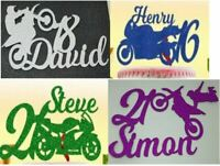 Personalised Glitter Card Motorbike Cake Topper Decoration any age 16 17 18 21