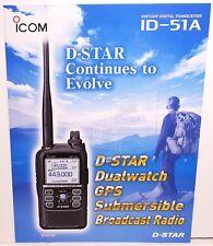 Original Color 4 Sided Brochure for ICOM ID-51A VHF UHF Digital HT TRANSCEIVER