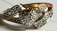 10k Yellow Gold 7mm Wide Diamond Heart Size 6 1/2 Ring 2.6 Grams Estate Love WOW