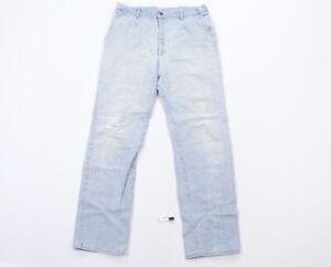 Vintage 90s Lee Mens Size 36x33 Striped Straight Leg Distressed Denim Jeans Blue