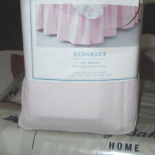 "SIMPLY SHABBY CHIC King Bedskirt 15"" Solid Pink RUFFLES Split Corners 15"""