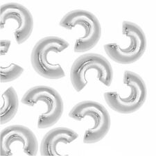 Crimp Bead Covers, 4mm, 50 Pieces, Silver Plated