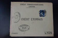 PORTUGAL CARTA CENSURA MILITAR Nº358 CENSOR DE LA COVER LISBOA -> LYON
