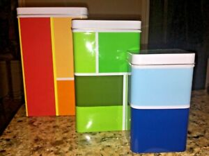 IKEA Set of 3 Multicolor Metal Nesting Containers with Lids  Blue Green Orange