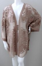 Umgee USA Floral Lace Kimono Cardigan Wrap Jacket Mocha Brown - Plus XL 1XL New!