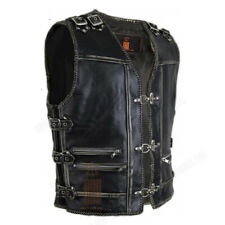 Men Motorcycle Biker Riding Heavy Buckled Zipper Genuine Leather Vest Waistcoat