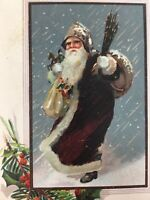 c. 1909 Old World Santa Claus Robe Christmas Postcard Embossed