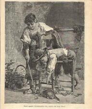 Stampa antica RAGAZZINI CHE GIOCANO CON IL GATTO Bechi 1891 Old antique print