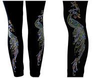 REGULAR & PLUS SIZE LONG LEGGINGS Embellished All Rhinestone Peacock Bird