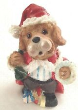 "Brown Funny 4"" Dog Figurine in Santa Suit"
