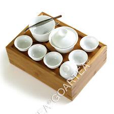 Traveller's Bamboo GongFu Porcelain Tea set Sliding Cover Box Table Serving Tray