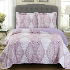 Jewel Reversible Wrinkle Free 3 Piece Coverlet Set Patchwork Printed Quilts