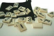new Water Buffalo Bone Rune set suited for divination and magic pouch included