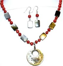 """GN265 Mother Of Pearl Shell & Red Pearls w Silver 19"""" Necklace Earring Set"""