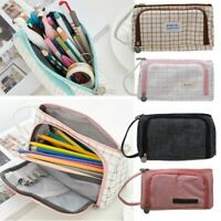 Double Zip Pen Pencil Case Large Capacity School Stationery Cosmetic Bag Holder