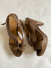 COCLICO Brown Wood Leather Sandals 37