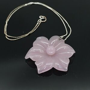 Rose Quartz Carved Lotus Flower Pendant Necklace Sterling Silver Chain 925 18""