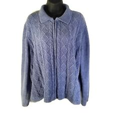 Alfred Dunner Size XL Zippered Collared Chenille Sweater Blue Soft Acrylic
