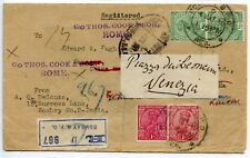 Thos Cook 1920 India reg letter Bombay to London Reading Room cachet redirected