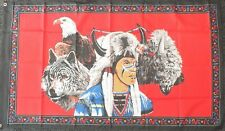 Indian Brave Flag 5x3 American History USA Line Barn Dance Wild West Western