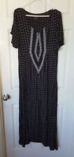 O'NEILL Cynthia Vincent Dress Boho Maxi Hippie Kaftan Dress Size M 10 Black
