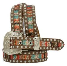 Angel Ranch Western Girls Belt Leather Fabric Inlay Studded Multi-Color Da6202