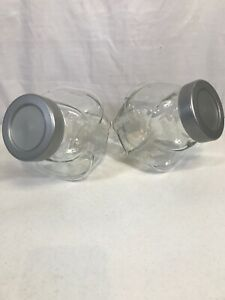 Set Of 2 Clear Glass General Storage Containers Candy/Cookie Silver Plastic Lid