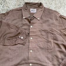 New listing Vintage 50s Glen Brae Large Brown Loop Collar Shirt Rockabilly Square Rayon