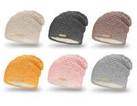NEU Damen Mütze mit Zopfmuster Innenfutter Winter Beanie Strick-Mutze (687)