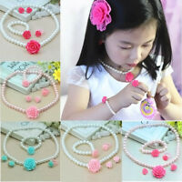 Kids Girls Child Pearl Flower Shape Necklace Bracelet Ring Ear Clips Jewelry Set