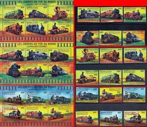 GUINEA/TRAINS of the WORLD collection x3 SETS + 3 S/S) MNH 6 items, understand?