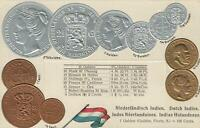 1900's VINTAGE NETHERLANDS EMBOSSED COPPER SILVER & GOLD COINS & FLAG POSTCARD