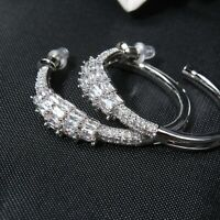 Earrings Nails Creole Snake 1 3/16in Gold Plated White Cz Marriage G9 B