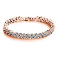 Women Rose Gold Roman Chain Clear Zircon Crystal Bangle Rhinestone Bracelet