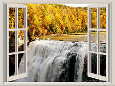 Waterfall & Fall Landscape Window View Color Wall Sticker Wall Mural 36x27