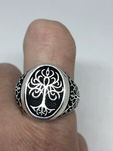 Vintage 925 Sterling Silver Celtic Tree Of Life Size 11.25 Ring