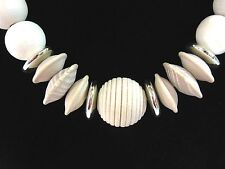 """NECKLACE Vintage BIG WOOD BEADS  Wooden Beaded Natural Tan 30"""" Jewelry"""