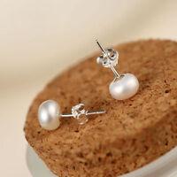 7mm Pearl Round 925 Sterling Silver Freshwater Stud Earrings