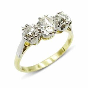 Old Cut Diamond Trilogy 18ct Vintage Gold Ring 1.1ct