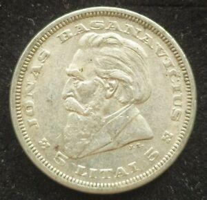1936 LITHUANIA Silver 5 Litai JONAS BASANAVICIUS Vintage Lithuanian Coin