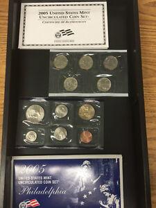 2005 P&D 22 COIN  U. S. MINT SATIN FINISH UNC. STILL IN BROWN BOX