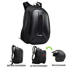 Black Motorcycle Backpack Helmet Bag Extendable Packsack Waterproof USB Outlet