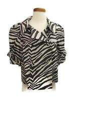 Jocelyn Jacket Blazer Brown Beige Size Small Striped 3/4 Sleeves Double Breasted