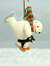 New listing Polar Buddies ~ New Hallmark Miniature Ornament Penguin & Polar Bear Skate 1997