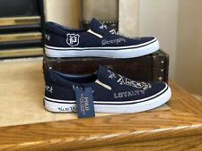 New Polo Ralph Lauren Mens Thompson III Canvas Slip On Boat Shoes Size 11  Navy